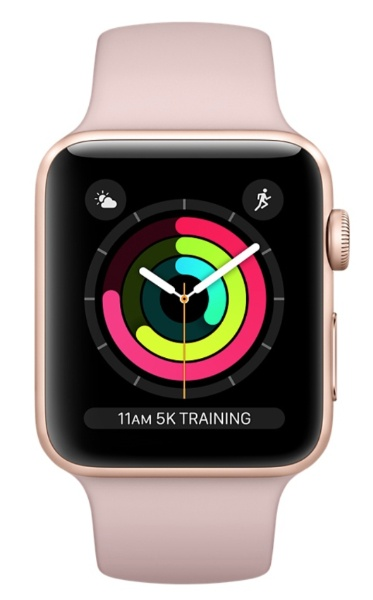 Apple Watch Sport 42mm Series 3 Gold Aluminum Case with Pink Sand Sport Band MQL22