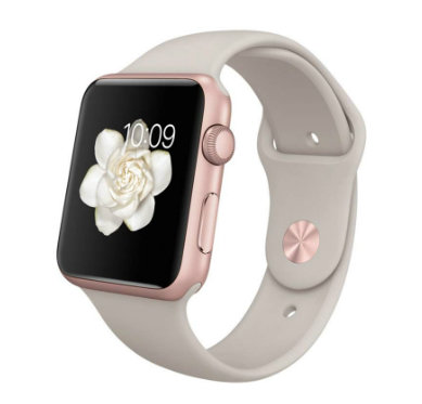 Apple Watch Sport 38mm Rose Gold with Sport Band Stone (Бежевый спортивный ремешок) MLCH2
